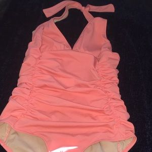 J. Crew peach one piece swimsuit.